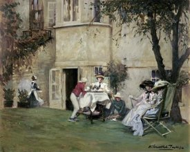Albert Chevallier Tayler - Tea In The Garden