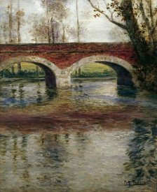 Frits Thaulow - A River Landscape With a Bridge