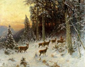 Arthur Julius Thiele - Deer In Winter Wooded Landscape