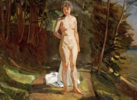 Wilhelm Trubner - A Bather In a Wooded Landscape