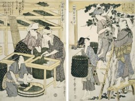 Kitagawa Utamaro - Silk-Worm Culture By Women