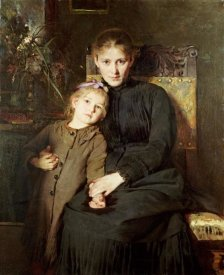 Bertha Wegmann - A Mother and Daughter In An Interior