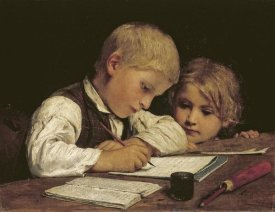 Albert Anker - A Boy Writing
