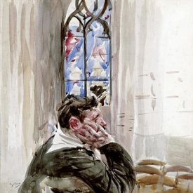 Giovanni Boldini - Portrait of a Man In Church