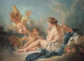 Francois Boucher - Nymph Playing The Flute With Putti
