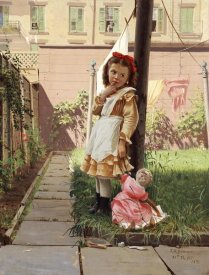 John George Brown - Young Girl In a New York Garden