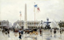 Ulpiano Checa y Sanz - A View of The Place De La Concorde, Paris
