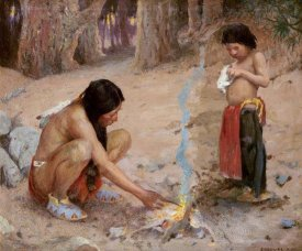 Eanger Irving Couse - The Campfire
