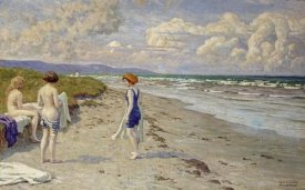 Paul Fischer - Girls Preparing To Bathe on a Beach