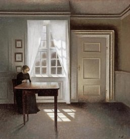 Vilhelm Hammershoi - A Woman Sewing In An Interior