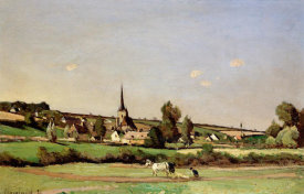Henri Joseph Harpignies - An Extensive Landscape With a Ploughman