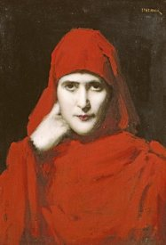 Jean Jacques Henner - A Woman In a Red Cloak