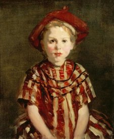 Robert Henri - Little Girl In Red Stripes