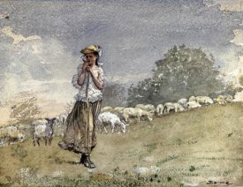 Winslow Homer - Tending Sheep, Houghton Farm