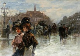 Max Lugi - A Street Scene With Elegant Ladies, Paris