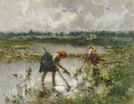 Pompeo Mariani - Women at Work In Rice Fielda