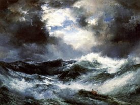 Thomas Moran - Moonlit Shipwreck at Sea