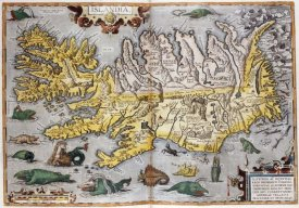 Abraham Ortelius - Hand Colored Map of Iceland