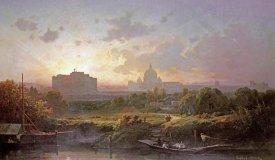 Antoine Ponthus-Cinier - View of Rome at Sunset