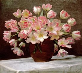 Peter Johan Schou - Tulips In a Vase on a Draped Table