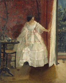 Alfred Stevens - Lady at a Window Feeding Birds