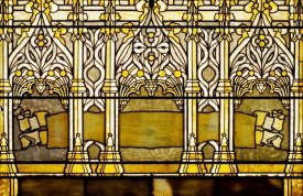 Tiffany Studios - Leaded Glass Window, One of a Pair