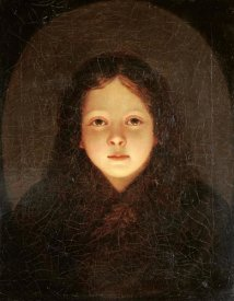 Petrus Van Schendel - A Girl, Head and Shoulders
