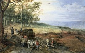 Jan Brueghel the Elder - A Wooded Landscape with Travelers