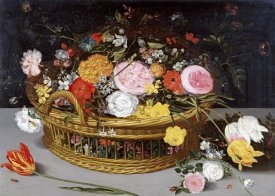 Jan Brueghel the Elder - Roses Tulips, and Other Flowers In a Wicker Basket