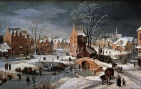 Pieter Bruegel the Younger - Winter Scene With Ice Skaters and Birds