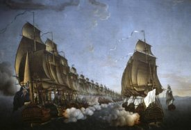 Auguste Louis Rossel de Cercy - Combat Between The French and English Fleets As Viewed From Goudelour