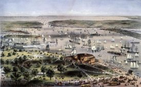 Currier and Ives - Port of New York Bird's Eye View From The Battery, Looking South