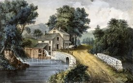 Currier and Ives - Roadside Mill