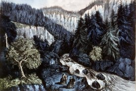 Currier and Ives - Source of The Hudson In Indian Pass Adirondacks