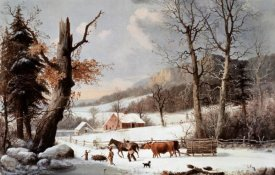 Currier and Ives - Winter In The Country - Homeward From The Wood-Lot