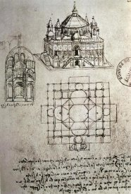 Leonardo Da Vinci - Sketch of a Square Church with Central Dome and Minaret