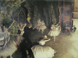 Edgar Degas - Rehearsal of the Ballet on Stage