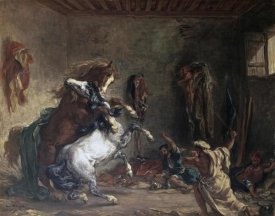 Eugene Delacroix - Arabian Horses Fighting In a Stable