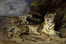 Eugene Delacroix - Young Tiger Playing with his Mother
