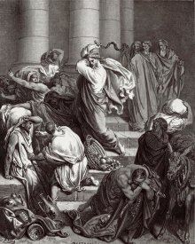 Gustave Dore - The Buyers and Sellers Driven out of the Temple by Jesus Holy Christ