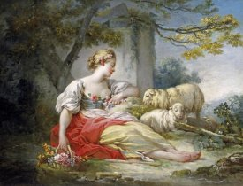 Jean Honore Fragonard - Shepherdess Seated with Sheep and a Basket of Flowers Near a Ruin in a Wooded Landscape