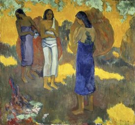 Paul Gauguin - Three Tahitian Women Against a Yellow Background, (Trois Tahitiennes sur un Fond Jaune)