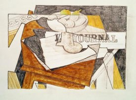 Juan Gris - Still Life With a Newspaper and a Wooden Table