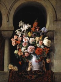 Francesco Hayez - Vase of Flowers In The Window
