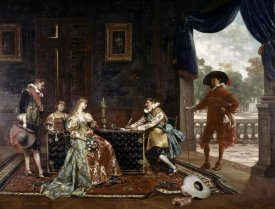 Adolphe Alexandre Lesrel - Signing a Marriage Contract at Court of Louis XIV