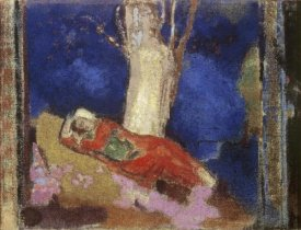 Odilon Redon - A Woman Lying Under The Tree
