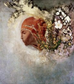 Odilon Redon - Head With Flowers