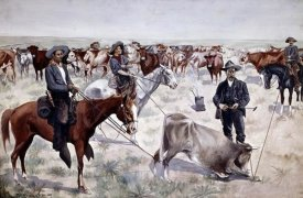 Frederic Remington - Branding a Steer