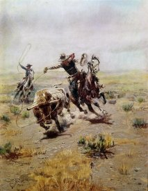 Charles M. Russell - Cowboy Roping a Steer