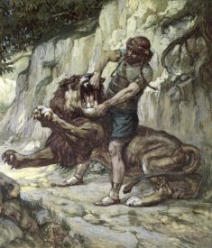 James Tissot - Samson Kills a Young Lion